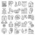 Intelligent building system icon set, outline style