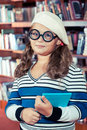 Intelligent girl in glasses Royalty Free Stock Image