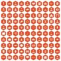 100 intelligent icons hexagon orange