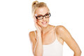 Intelligent woman wearing glasses Royalty Free Stock Photo