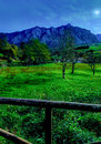 Intense green landscape with meadows and mountains of northern spain with colours Royalty Free Stock Photography