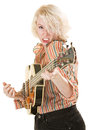 Intense guitarist young white female electric on isolated background Stock Photography