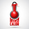 Intenso calor - intense heat spanish text, vector weather warning sign