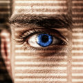 Intent look concept with an eye looking through a lattice of a shadow Stock Photography