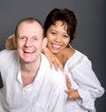 Inter-married Paare des Asiaten und des Kaukasiers Stockbilder