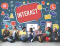 Interact Communicate Connect Social Media Social Networking Conc Royalty Free Stock Photo