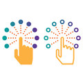 Interactive touch screen interface line icon, outline and solid