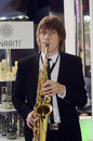 Intercharm XII International Perfumery and Cosmetics Exhibition Moscow Autumn The Saxophonist Royalty Free Stock Photo