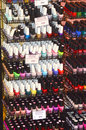 Intercharm XXI International Exhibition Autumn Moscow Nail polish Many different colors Royalty Free Stock Photo
