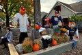 Intercourse pa autumn display at kitchen kettle village pennsylvania football themed decorations with pumpkins hay bales and Stock Photos