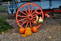 Intercourse pa wagon wheel with pumpkins pennsylvania and gourds decorate a conestoga at kitchen kettle village Royalty Free Stock Image