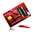 Interest concept red credit card with batteries that say overdraft Stock Photos