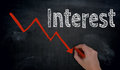 Interest and graph is written by hand on blackboard Royalty Free Stock Photo