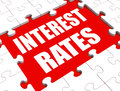 Interest rate puzzle shows investment showing or borrowing percent Stock Images