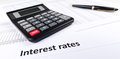 Interest rates documents with calculator Royalty Free Stock Photo