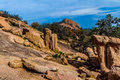 Interesting Boulders of Enchanted Rock, Texas. Stock Photo