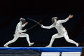 Interesting fight on championship of world in fencing moscow apr among juniors and cadets sports olympic complex april Stock Photo