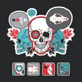 Interesting icons and composition with a skull Royalty Free Stock Photography