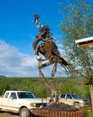 A giant sculpture at the entrance to an historic gold-mining town in alaska