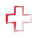 Interesting unordinary stylized red cross Royalty Free Stock Photos