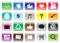 Interface icon set and buttons for social media networking app vector illustration Royalty Free Stock Photos