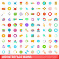 100 interface icons set, cartoon style