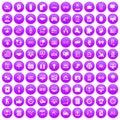 100 interface icons set purple