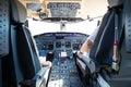 Interior of airplane cockpit. Royalty Free Stock Photo