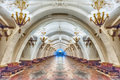 Interior of Arbatskaya subway station in Moscow, Russia Royalty Free Stock Photo