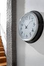 Interior architecture with wall clock design and bricks Stock Photo