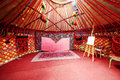 Interior of asian marquee with easel for drawing Royalty Free Stock Image