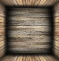 Interior background finished with weathered wood on floor walls and ceiling Royalty Free Stock Images
