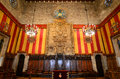 Interior of barcelona s town hall barcelona spain magnificent council chamber catalan the saló de cent spanish salón de ciento Stock Photo