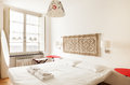 Interior beautiful apartment in old building bedroom Royalty Free Stock Photography