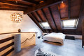 Interior beautiful loft luxurious bedroom Royalty Free Stock Photo
