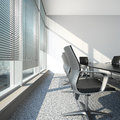 Interior with blinds and office table d render Stock Photo