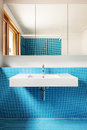 Interior blue bathroom house modern design Stock Images