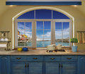 Interior blue kitchen. Royalty Free Stock Photo