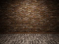 Interior with brick wall empty and parquet floor Stock Images