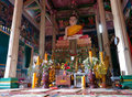 Interior of Buddhist temple in Cambodia Royalty Free Stock Photo