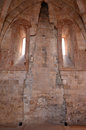 Interior of castel del monte apulia italy remnants the fireplace and chimney between two windows Stock Images