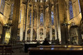 Interior of the Cathedral of Barcelona, Spain Royalty Free Stock Image