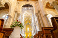 Interior of the Cathedral-Basilica of Cefalu. Mosaic of Christ. Royalty Free Stock Photo