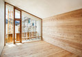 Interior chalet modern house with wooden wall large window Royalty Free Stock Photos