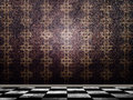 Interior with checkered floor Royalty Free Stock Images