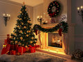 Interior with Christmas tree, presents and fireplace. Postcard. Royalty Free Stock Photo