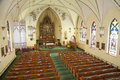Interior of the church a view a catholic near wausau wisconsin seen from balcony Royalty Free Stock Images