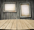 Interior of cottage room with empty tabletop and boards for your product advertisement Royalty Free Stock Images
