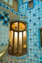 Inside Casa Milà, tiles with pattern, Barcelona, Casa Milà designed by Antoni Gaudi, Barcelona, Spain Royalty Free Stock Photo