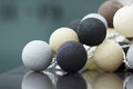 Interior decoration of neutral colored knitted balls Royalty Free Stock Photo